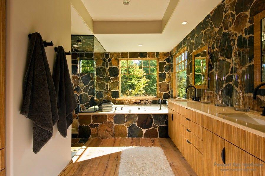 Камень в интерьере ванной комнатв