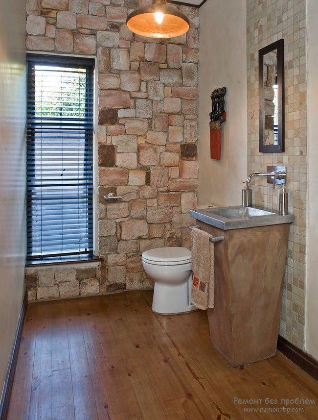 Соблюдение меры с отделкой из камня в ванной комнате