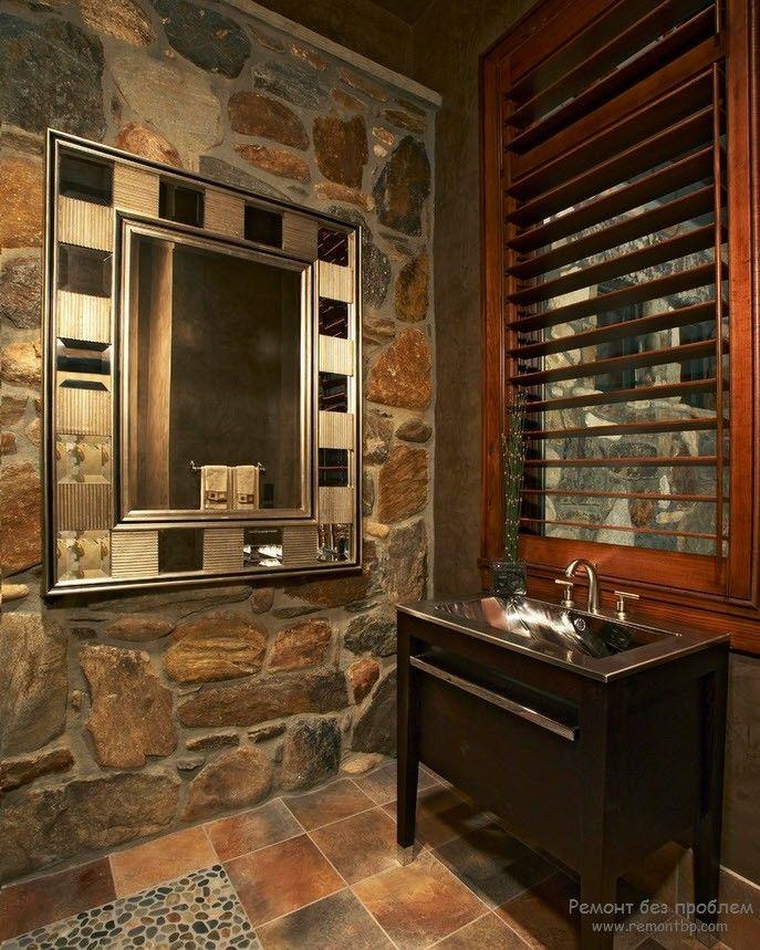 Эффектная ванная с декоративным камнем насыщенного цвета