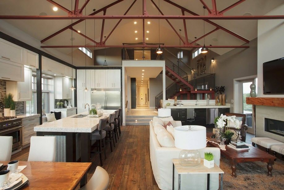 Кухня, гостиная и столовая в индустриальном интерьере