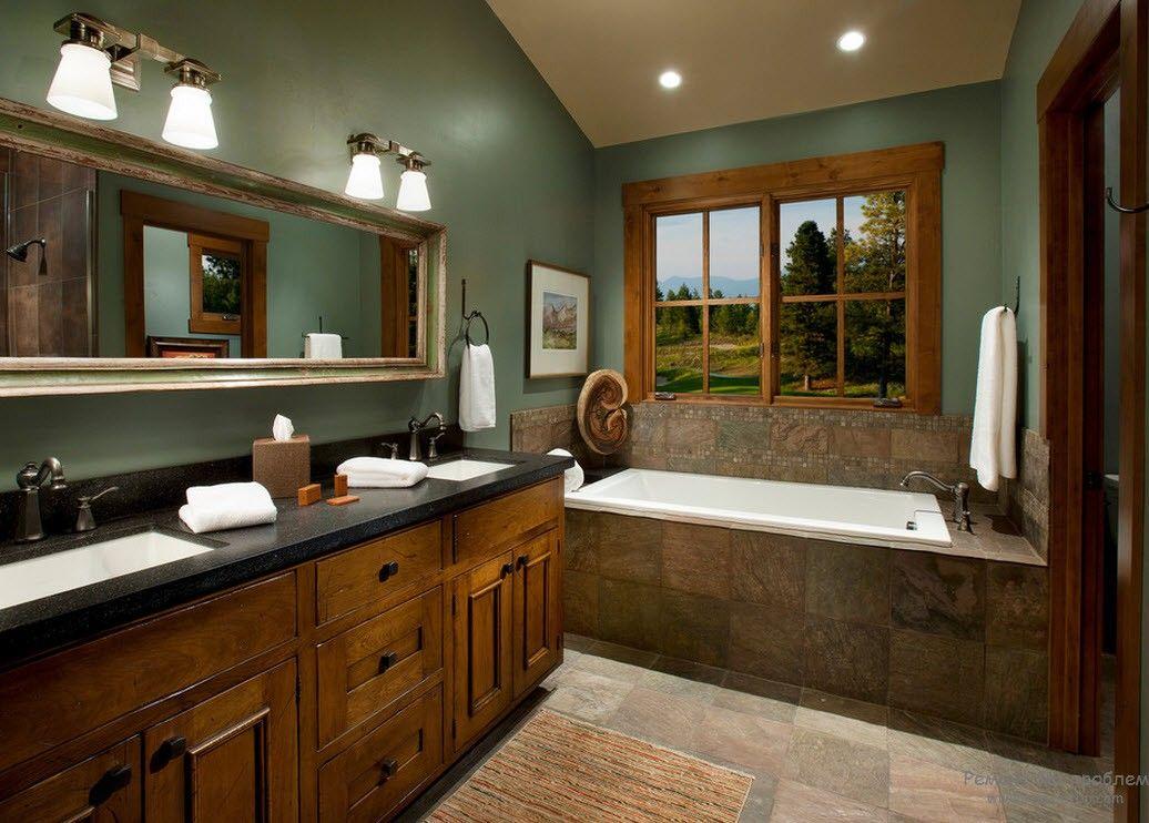 Коричневые и зеленоватые оттенки в интерьере ванной комнаты в стиле кантри