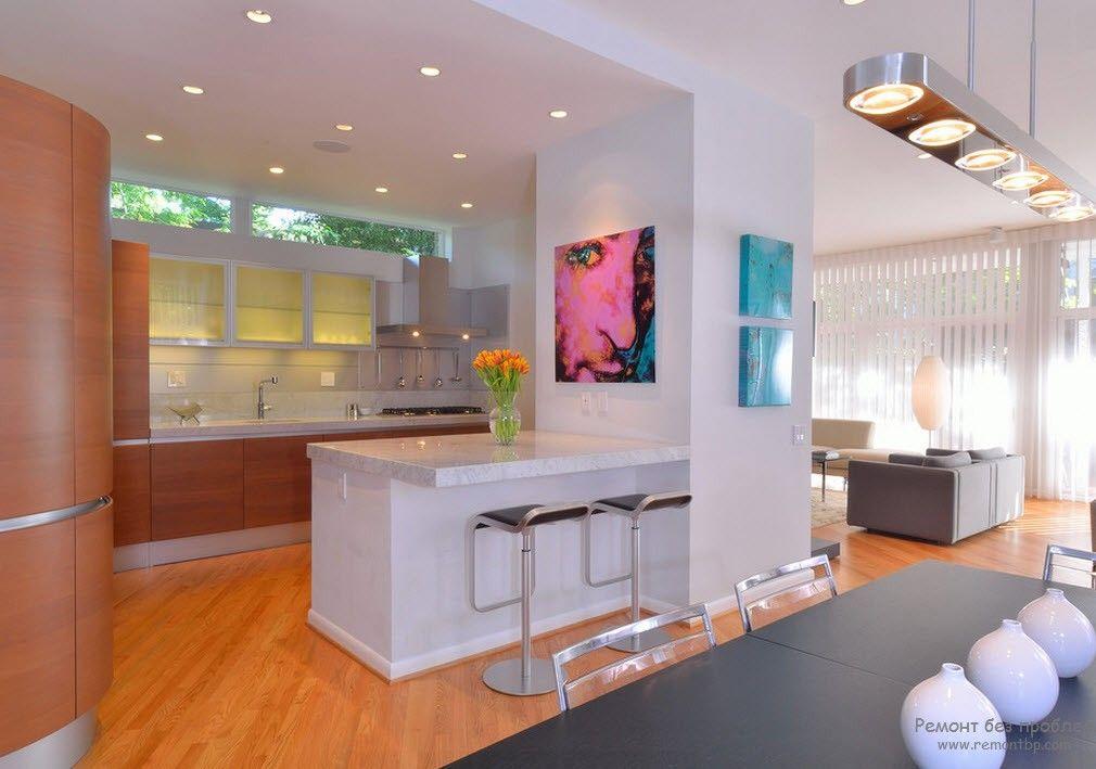 элементы поп дизайна в оформлении кухни