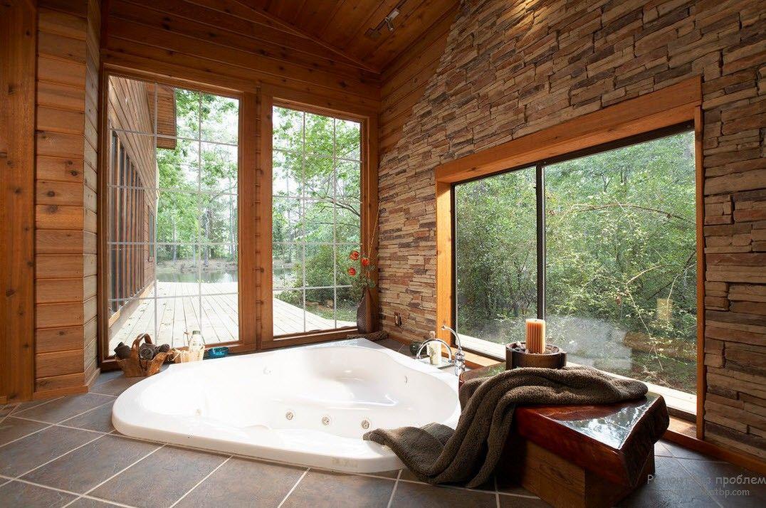 Эффектный дизайн ванной комнаты в стиле кантри