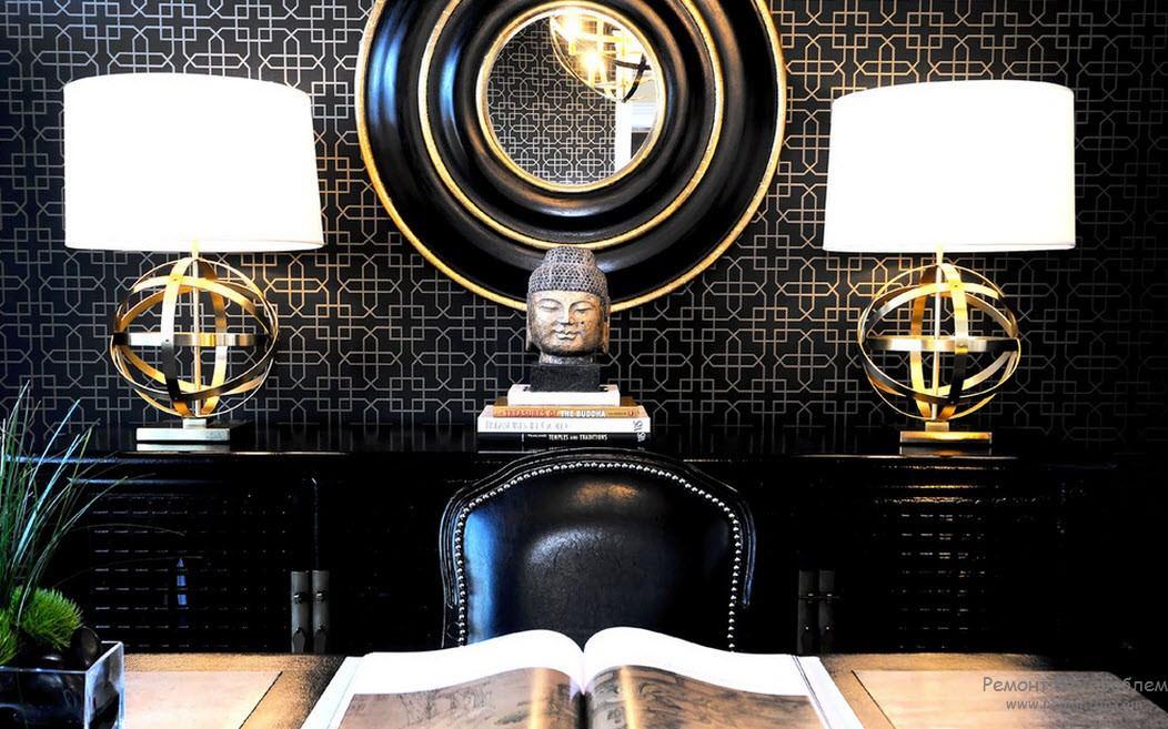 оригинальные настольные светидльники в эксклюзивном интерьере кабинета