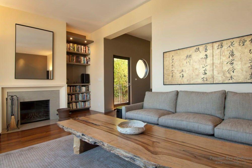 Дизайн деревянного столика в виде большой скамьи