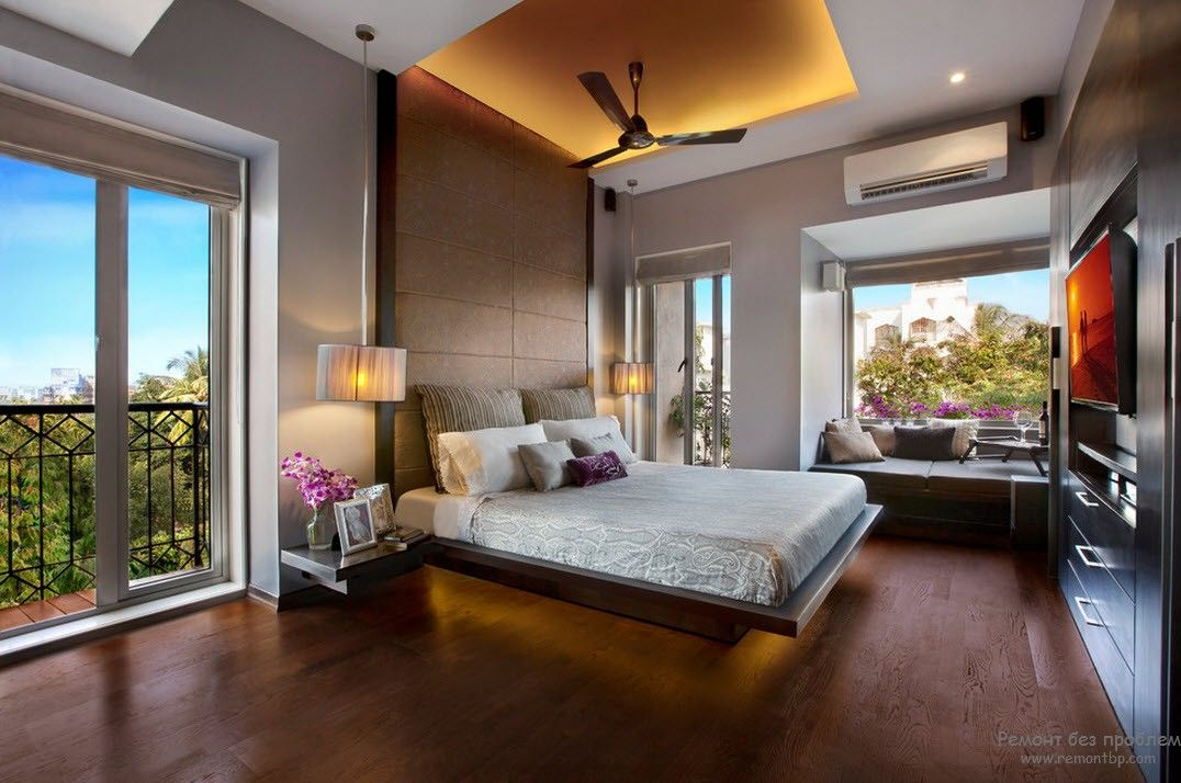 Потолок в современной спальне
