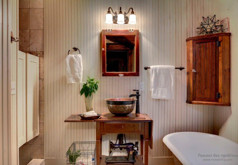 Аксессуары в ванной комнате в стилеекантри