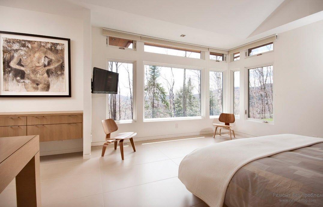 Сочетание двух пастельных оттенков в интерьере спальни в стиле минимализм