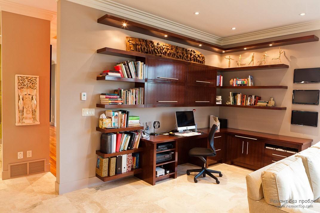 Стол в интерьере домашнего кабинета