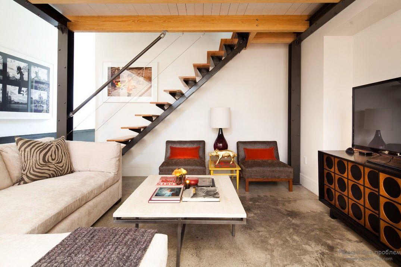 Лестница без ограждений в стиле минимализма