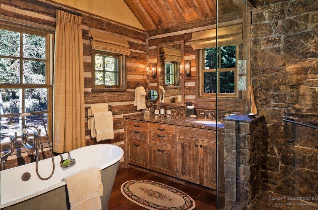 Ванная комната в стиле кантри в кофейных тонах