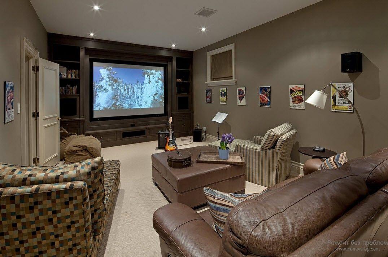 Комфортабельный интерьер домашнего кинотеатра