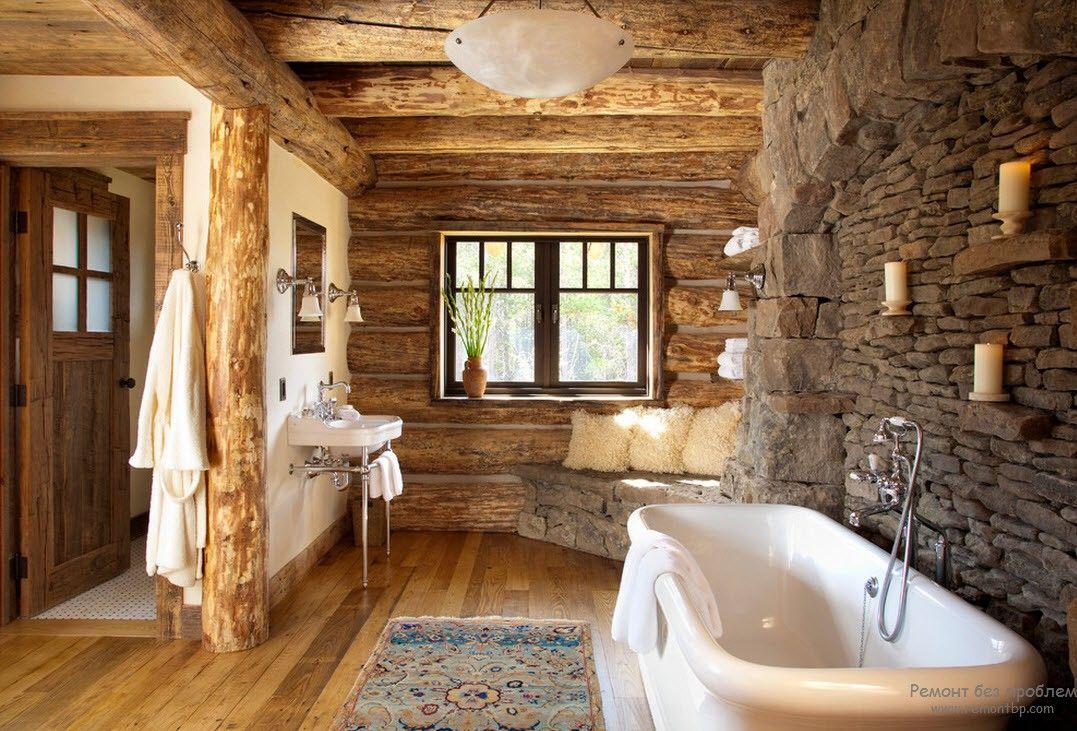 Камень в интерьере ванной комнаты в стиле кантри