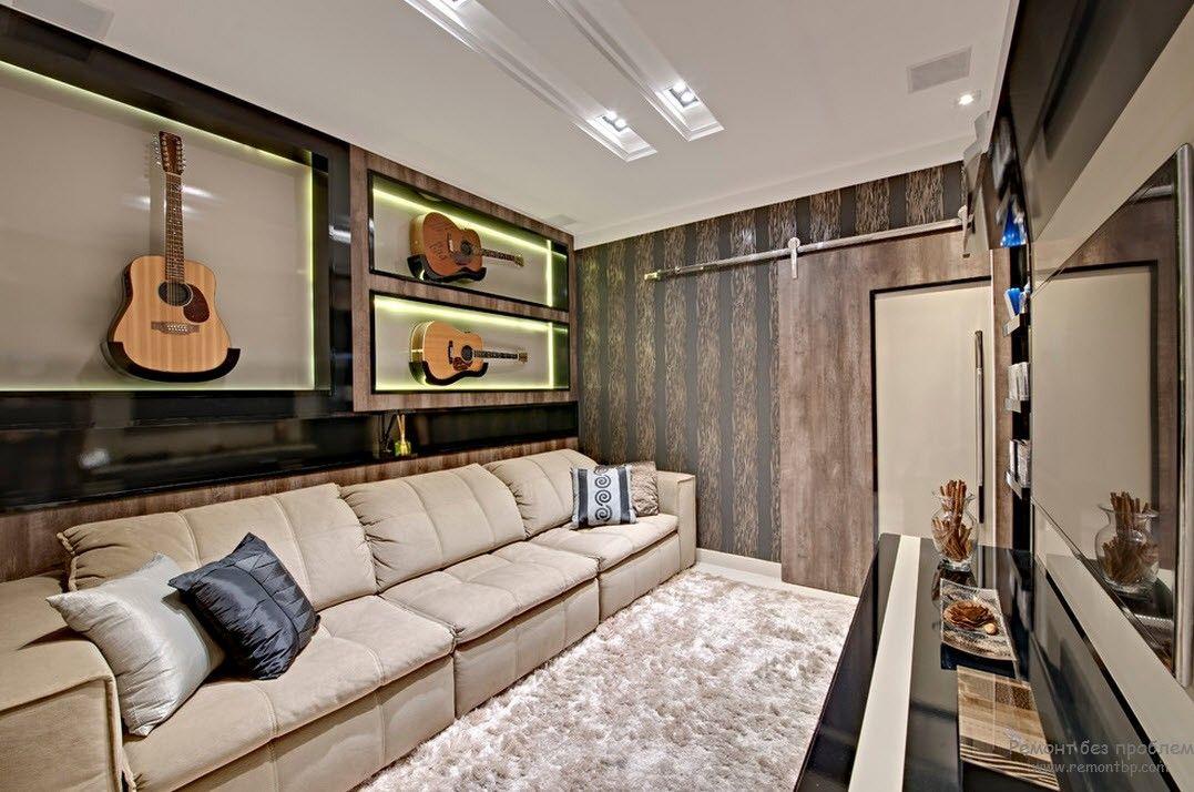 Уютный интерьер и дизайн домашнего кинотеатра