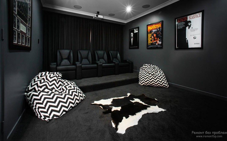 Интерьер и дизайн домашнего кинотеатра, 25 современных идей на фото