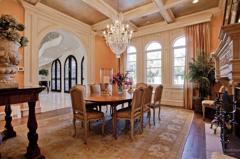 Интерьер спокойной персиковой гостиной