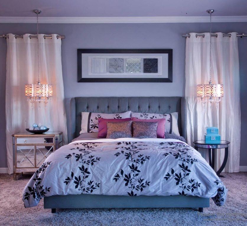 Оригинальные светильники, подвешенные над кроватью с двух сторон