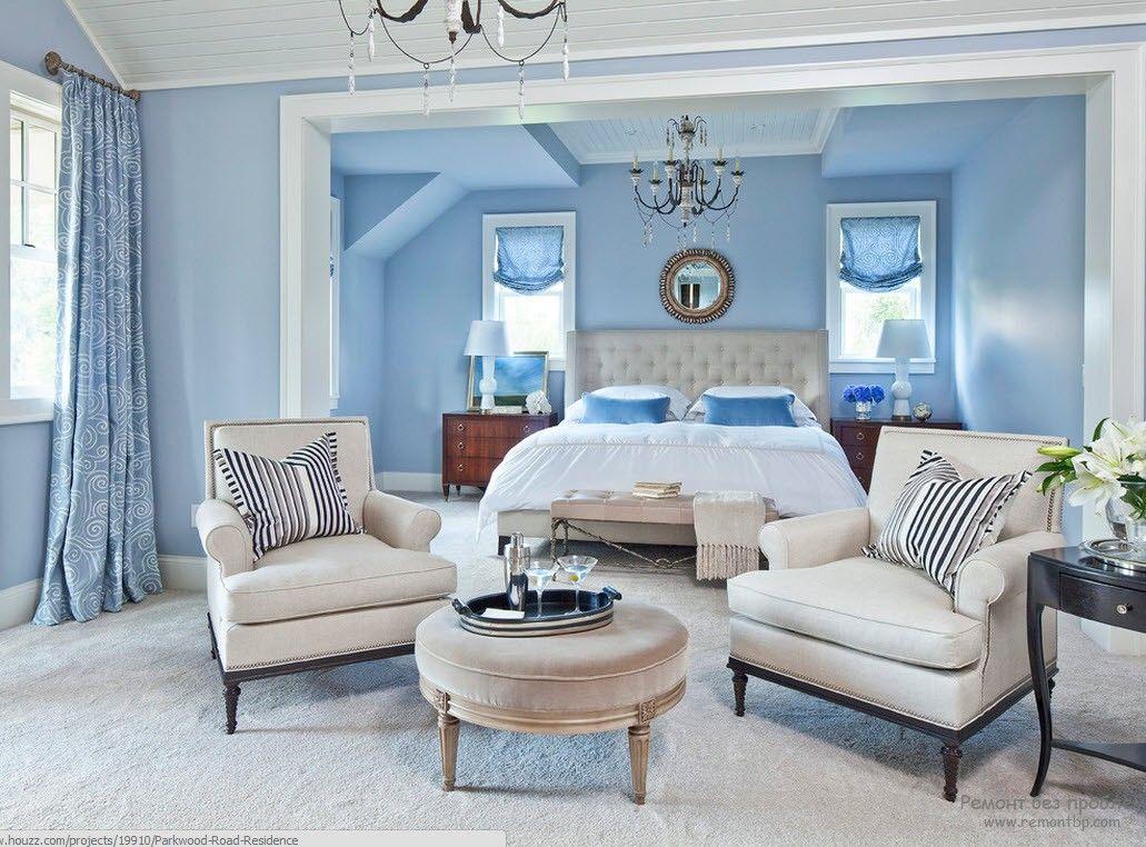 Голубые тона в интерьере спальни