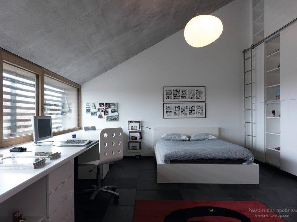 Интересное дизайнерское решение в современной спальне