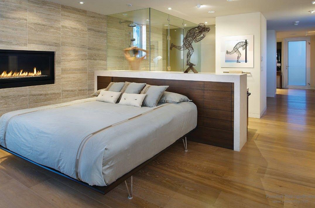 Пастельные тона в интерьере минималистской спальнм