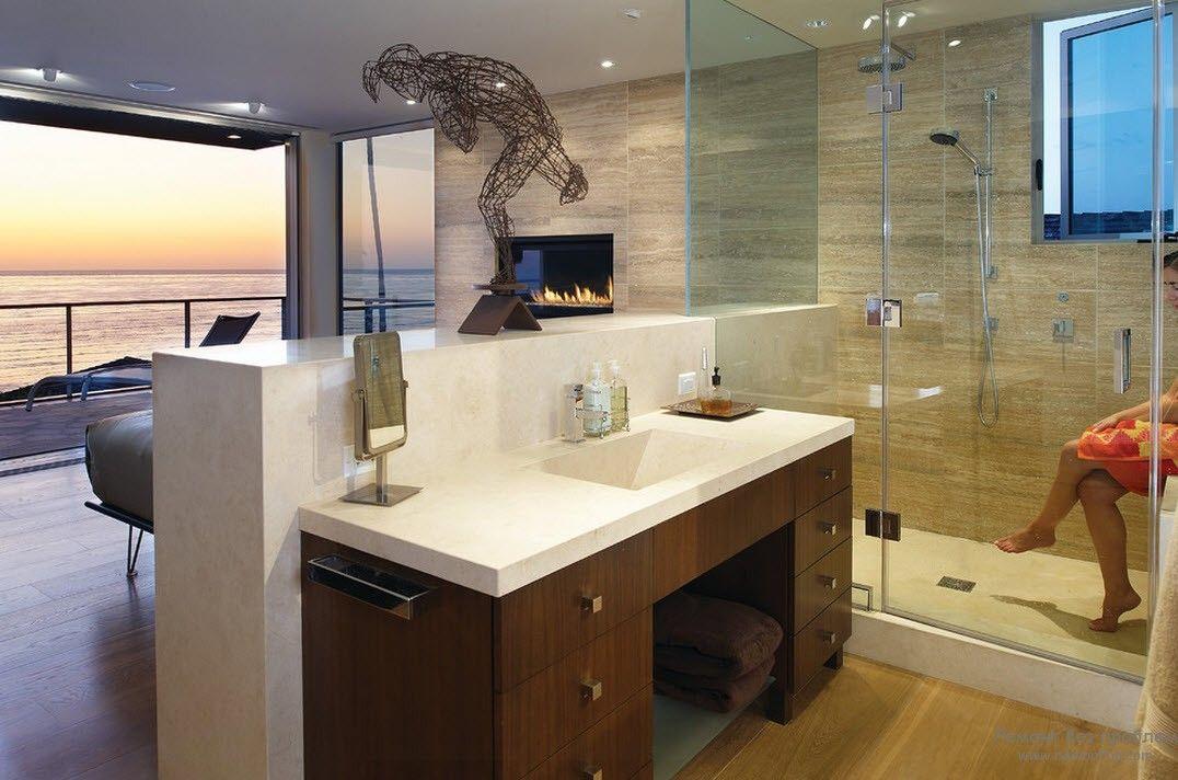 Оригинальный дизайн ванной комнаты в стиле минимализм