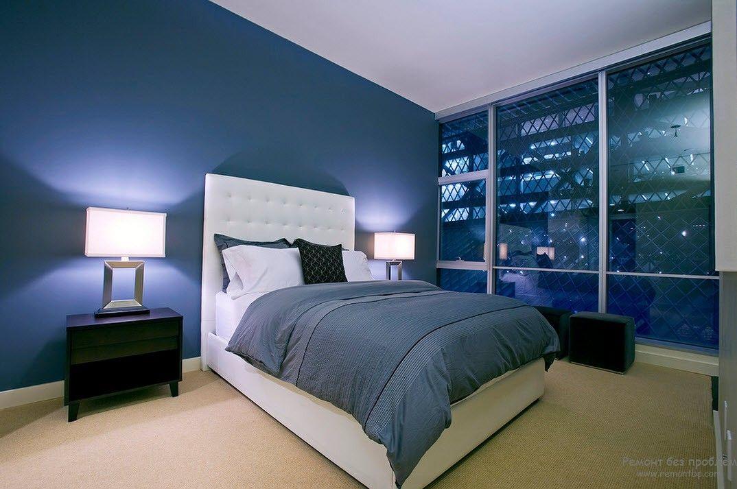 Спальня в синем цвете дизайн фото