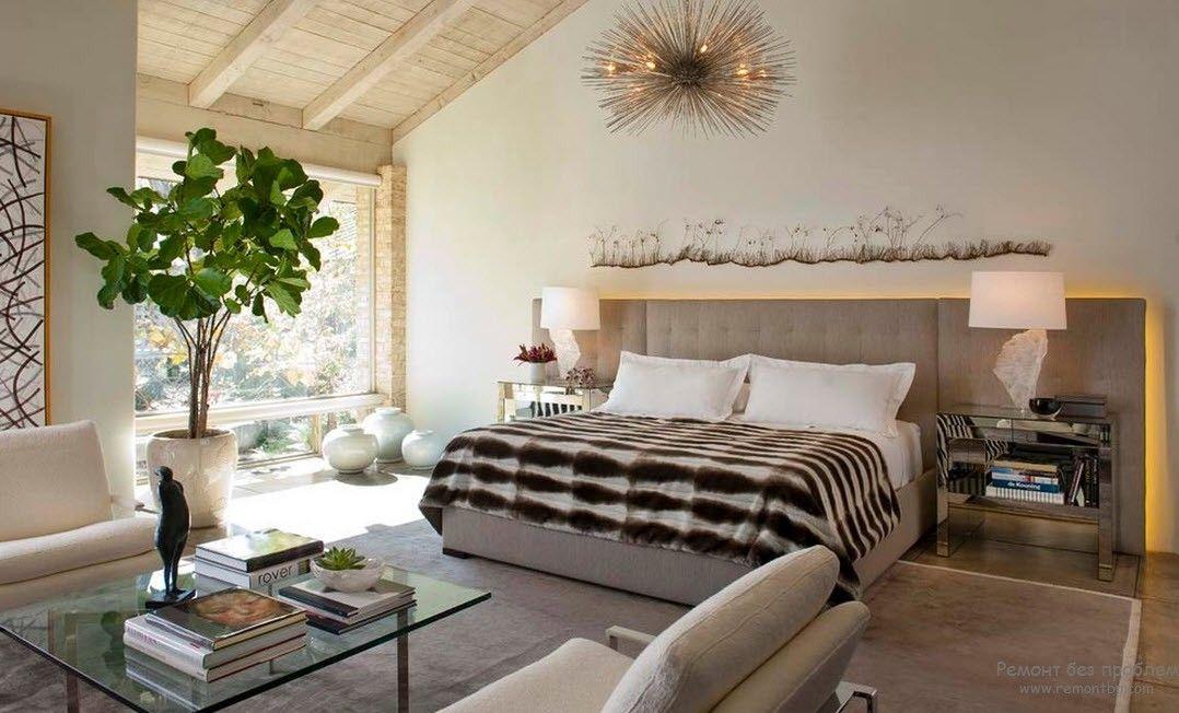 Спальня и зеленые растения