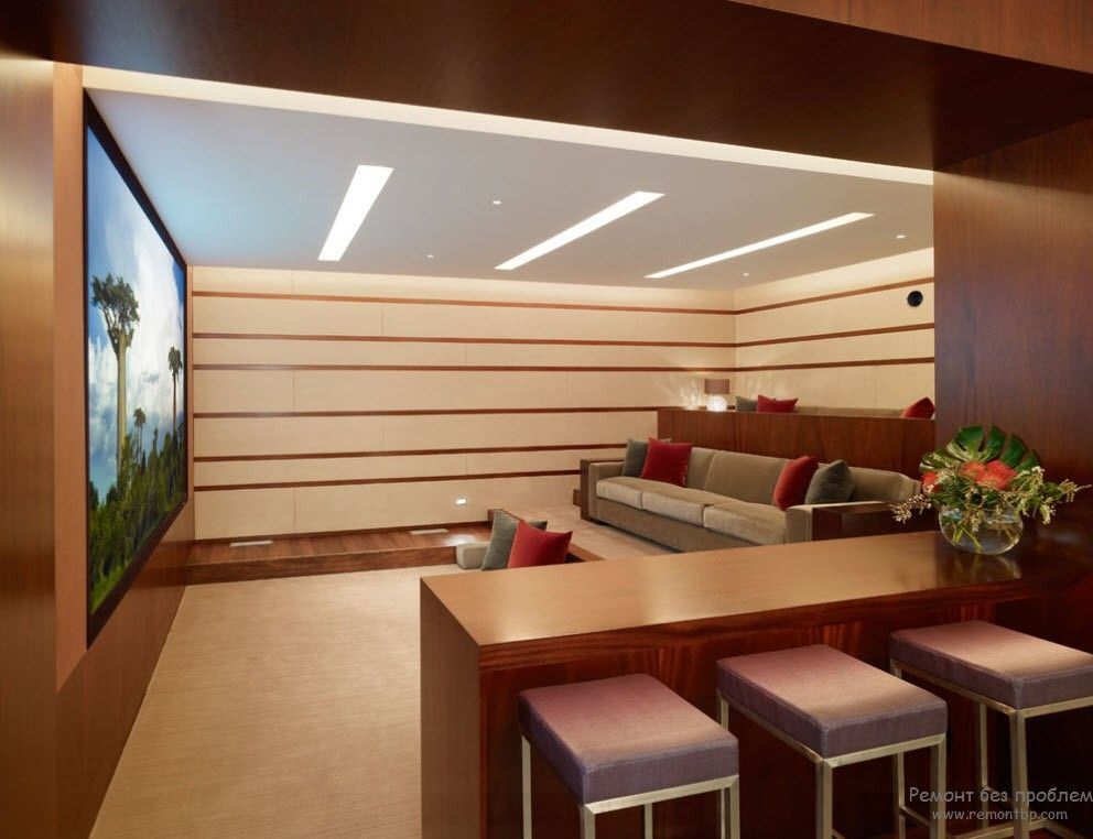 Домашний кинотеатр в интерьере современного стиля