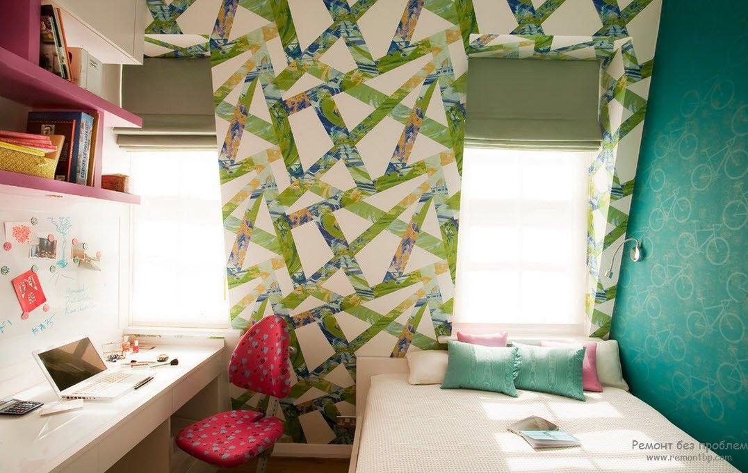 Крупный геометрический рисунок обоев для детской комнаты