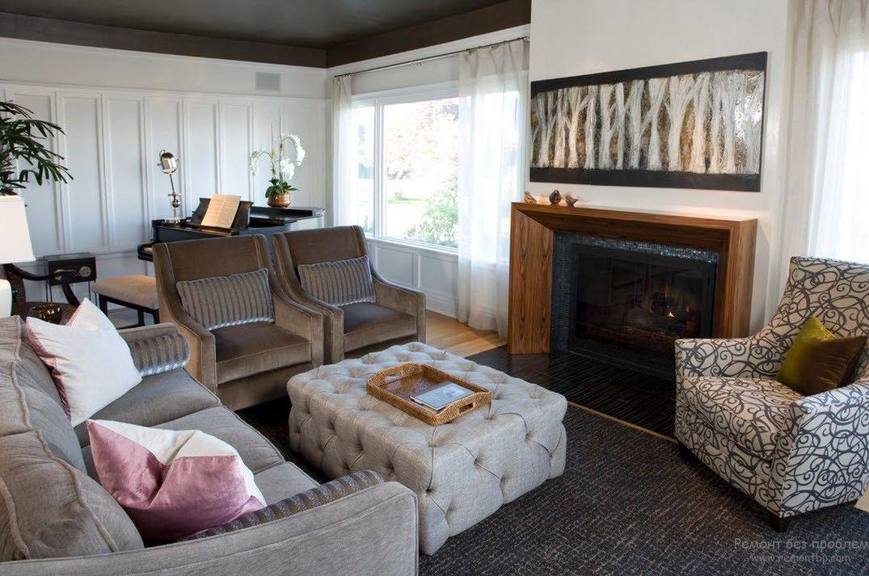 Цвет пуфика в сочетании с другой мебелью