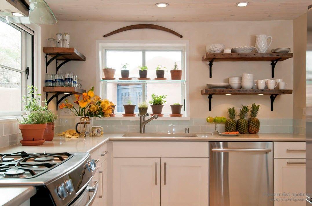 Небольшие растения в интерьере кухни