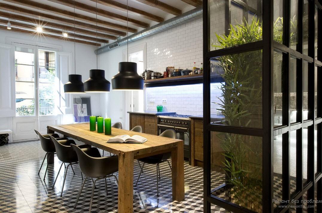 Оригинальное расположение растения в кухне