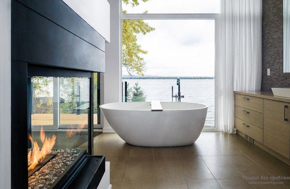 Красивый дизайн ванной комнааты в стиле минимализм