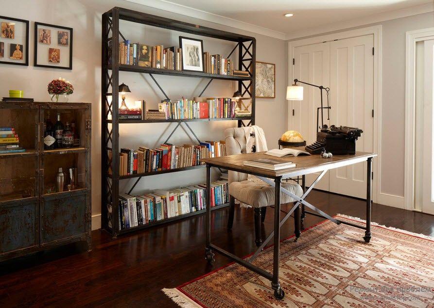 Стеллаж с книгами в интерьере