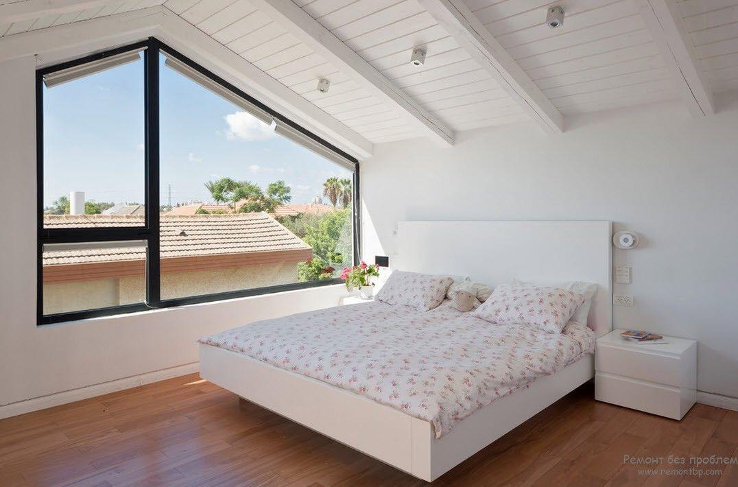 Дизайн белой спальни в стиле минимализм