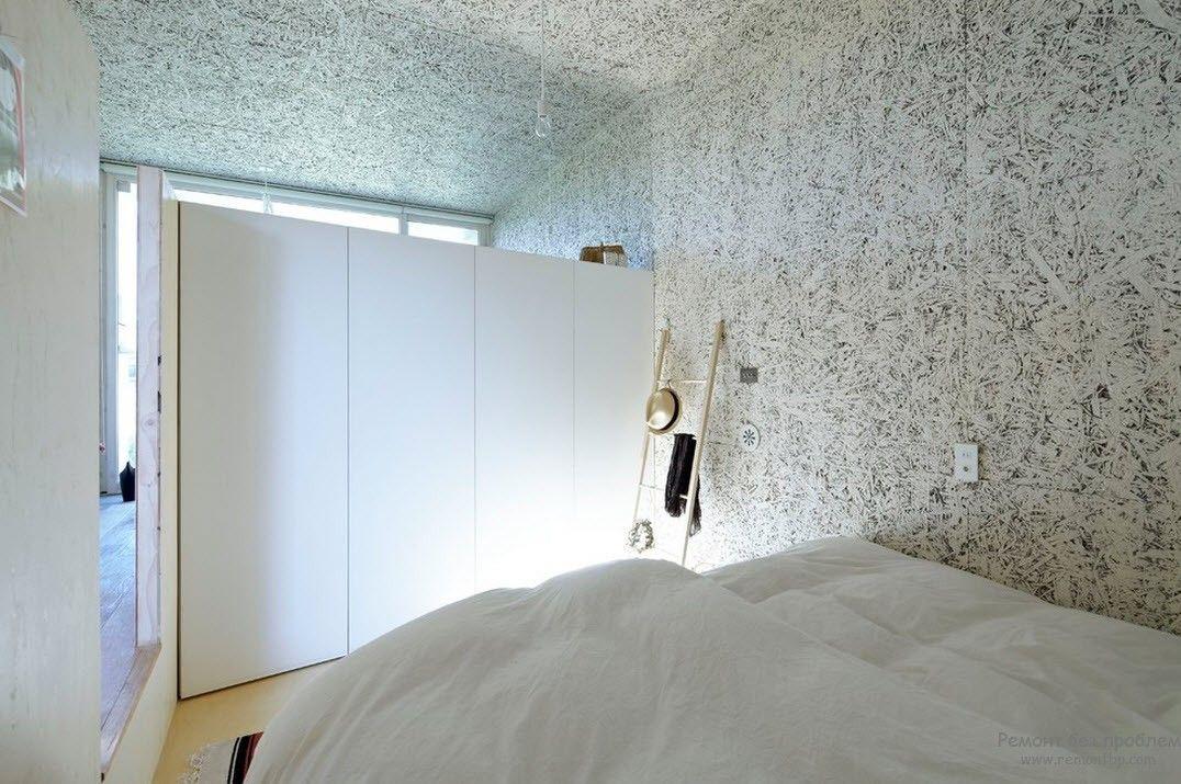 Оригинальная подсветка в спальной комнате в стиле минимализм