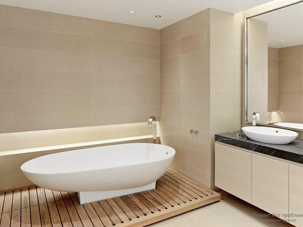 Преобладание бежевого цвета в интерьере ванной комнаты
