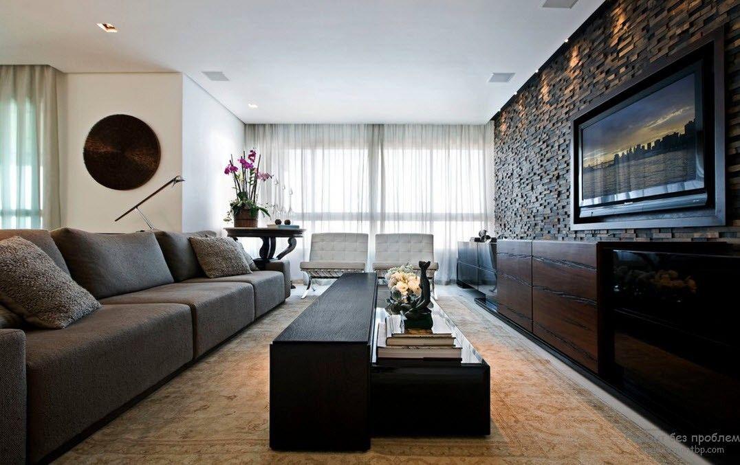 Природные материла в гостиной