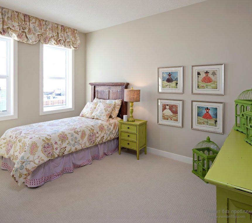 Зеленая мебель в качестве акцента интерьера детской комнаты