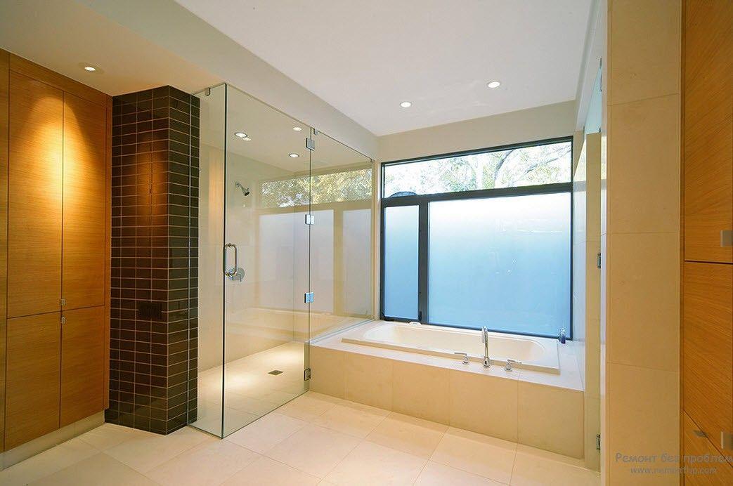 Точечные светильники в интерьере ванной комнаты