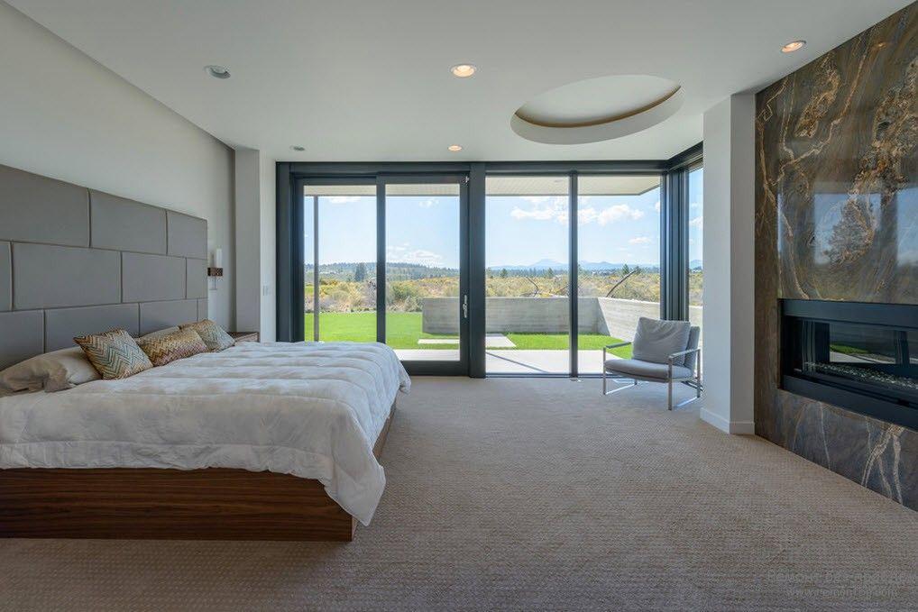 Ковролин в качестве напольного покрытия минималистской спальни