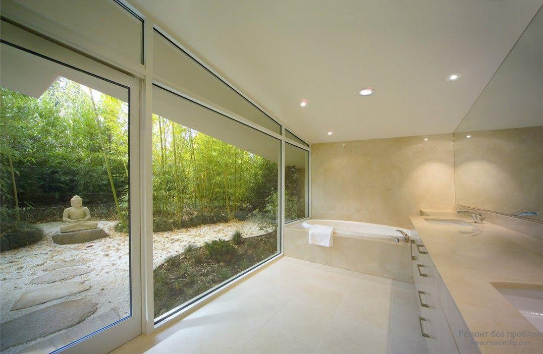 Эффектная ванная комната в стиле минимализм с точечным осввещением
