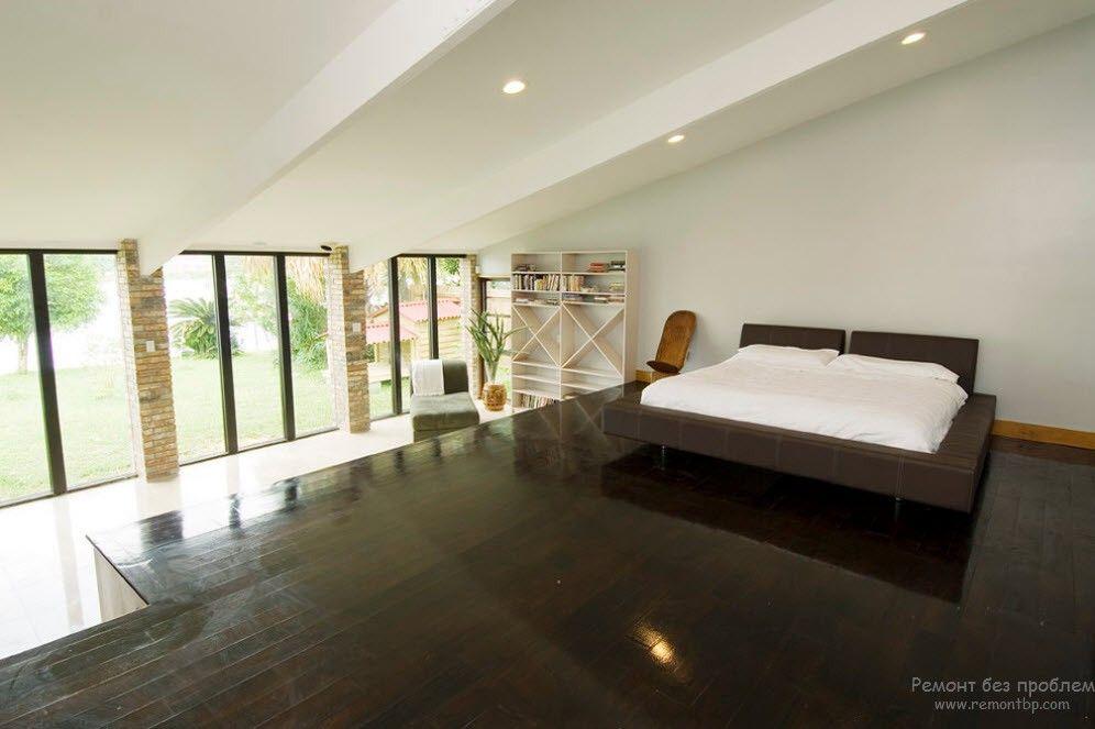Оригинальный дизайн просторной спальни в стиле минимализм