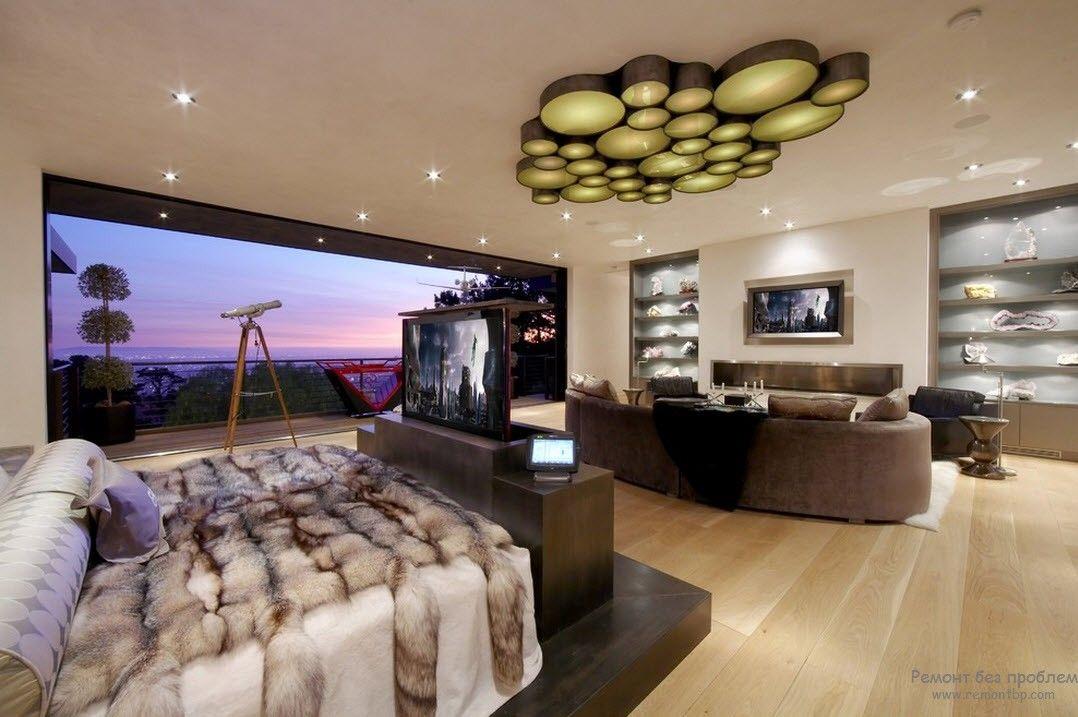 Необычный дизайн потолка современной спальни