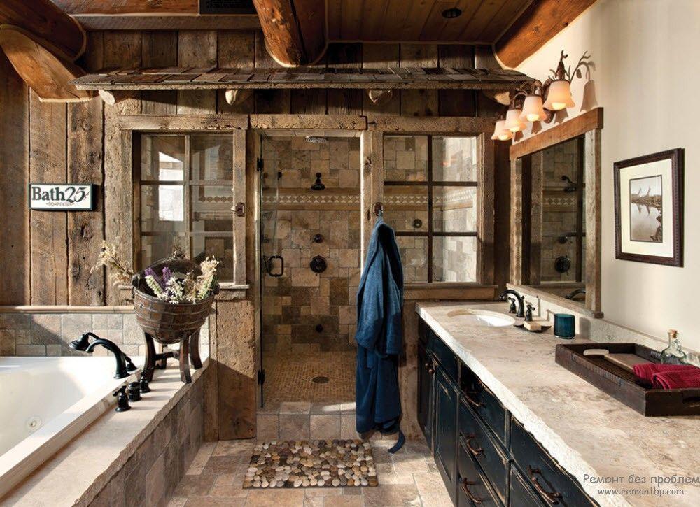 Интерьер ванной крмнаты в стиле кантри в кофейных тонах