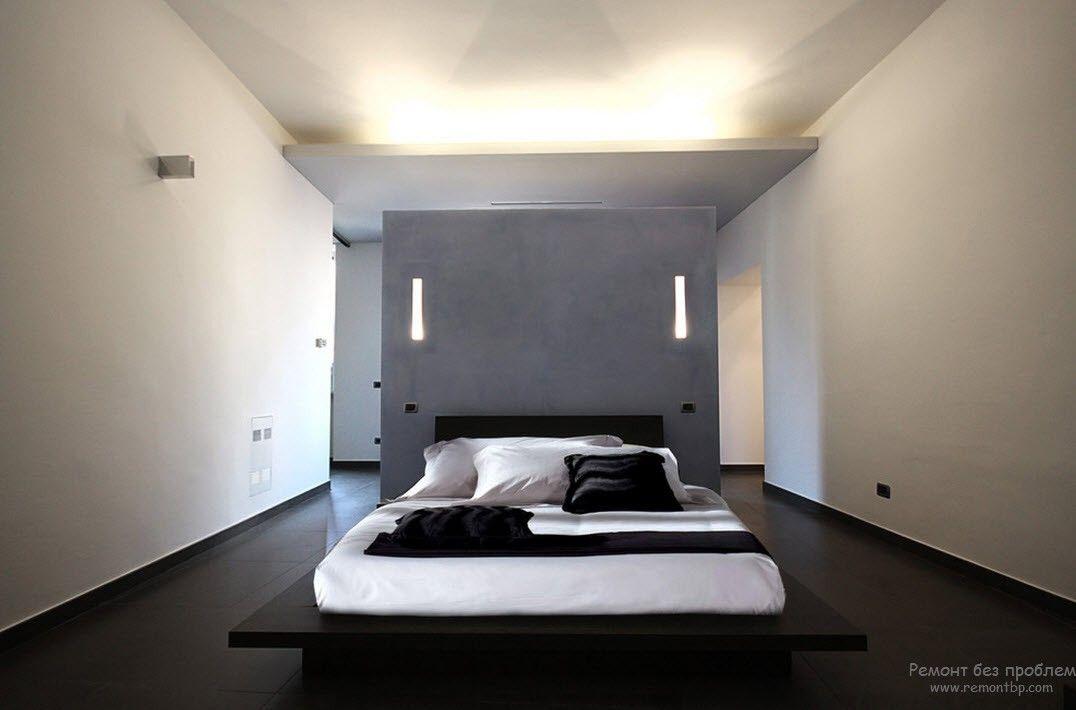 Кровать-платформа в интерьере спальни в стиле минимализм