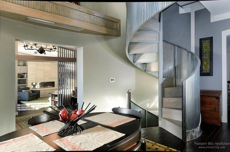 Эффектный дизайн винтовой лестницы