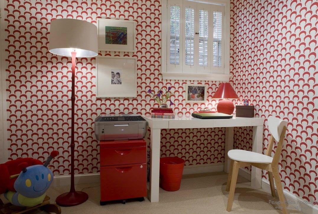 Бело-красные обои для комнаты ребенка школьного возраста