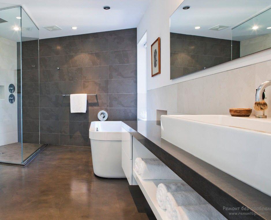 Сочетание темно-серого с белым в интерьере ванной комнаты в стиле минимализм