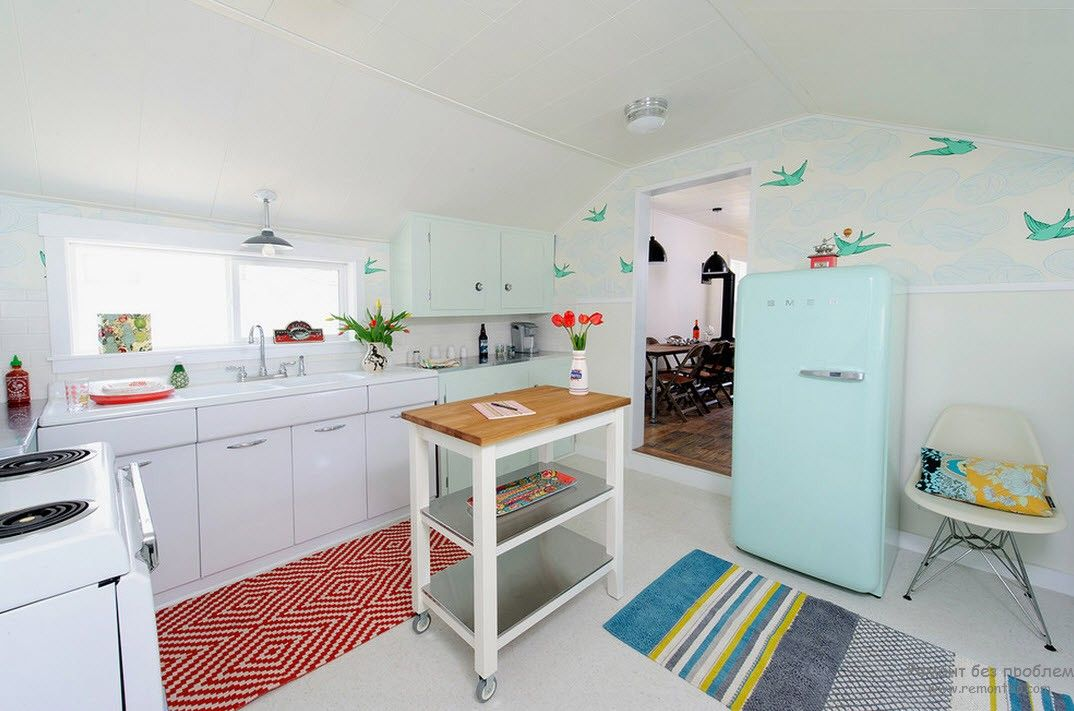 Обои в интерьере кухни, Оригинальные идеи для дизайна интерьера